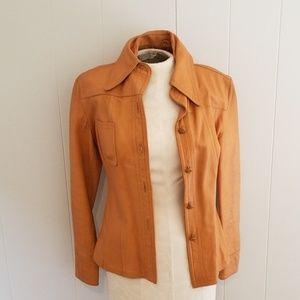 Vintage Coat ladies leather tapered